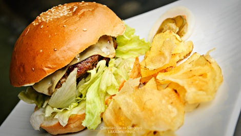 U.S. Angus Beef Burger (Php185.00) at Bacolod's Cafe Bob's