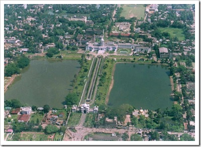 symmetric ponds aerial view ujjayanta palace