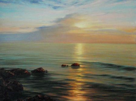 Море камни закат пейзаж хослт масло