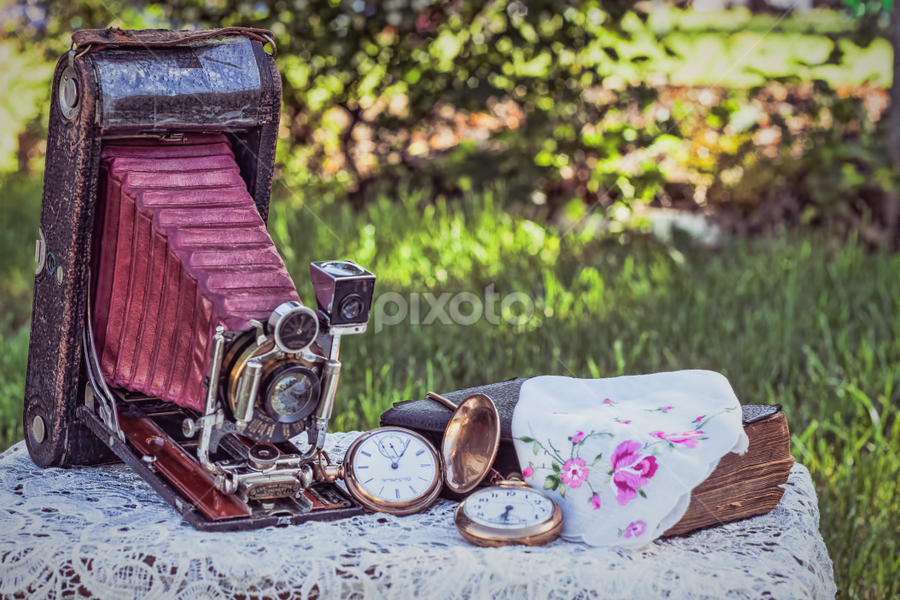 A long time ago by Judy Deaver - Artistic Objects Antiques ( old, camera, bible, watches, antique, , lens, object )