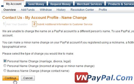 Hướng Dẫn Đổi Tên Trong PayPal Cho Phù Hợp