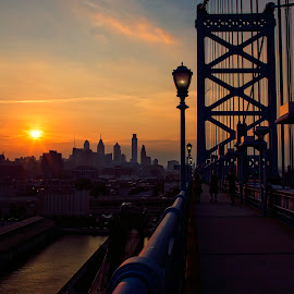 Sunset Silhouette by Deborah Felmey - City,  Street & Park  Skylines ( skyline, sunset, bridge, philadelphia, people, city )