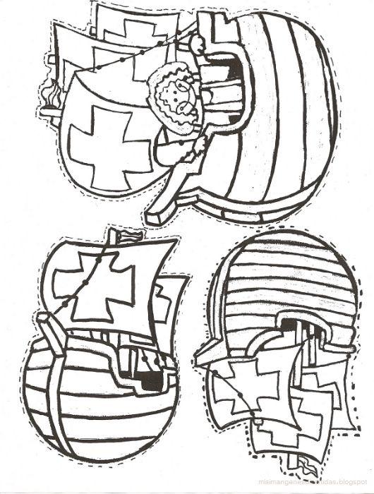 Dibujos De Las Tres Carabelas De Cristobal Colon Para ...