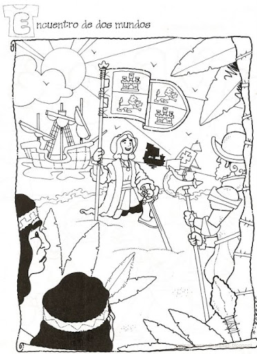 Dibujos para colorear Cristóbal Colón y las carabelas | Colorear