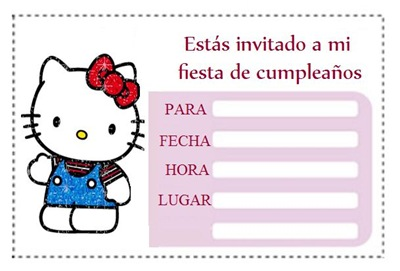 Invitaciones gratis de Hello Kitty para imprimir, Tarjetas gratis de ...