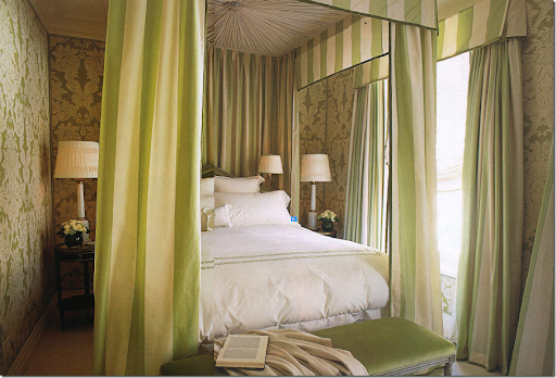 In A Very Small Room, Alessandra Branca Went Large U2013 A Canopy And Curtains  Made Of Bold Chartreuse And Cream Stripes.
