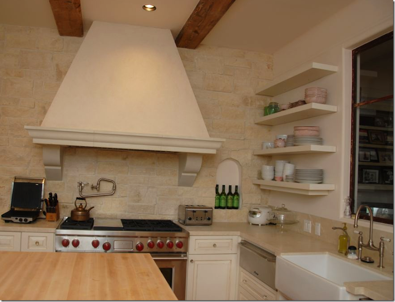 The Back Wall In Kitchen Is Austin Limestone Cut Thin And Applied As A Veneer An Arched Niche Was Out Of Stone For Added Charming Detail