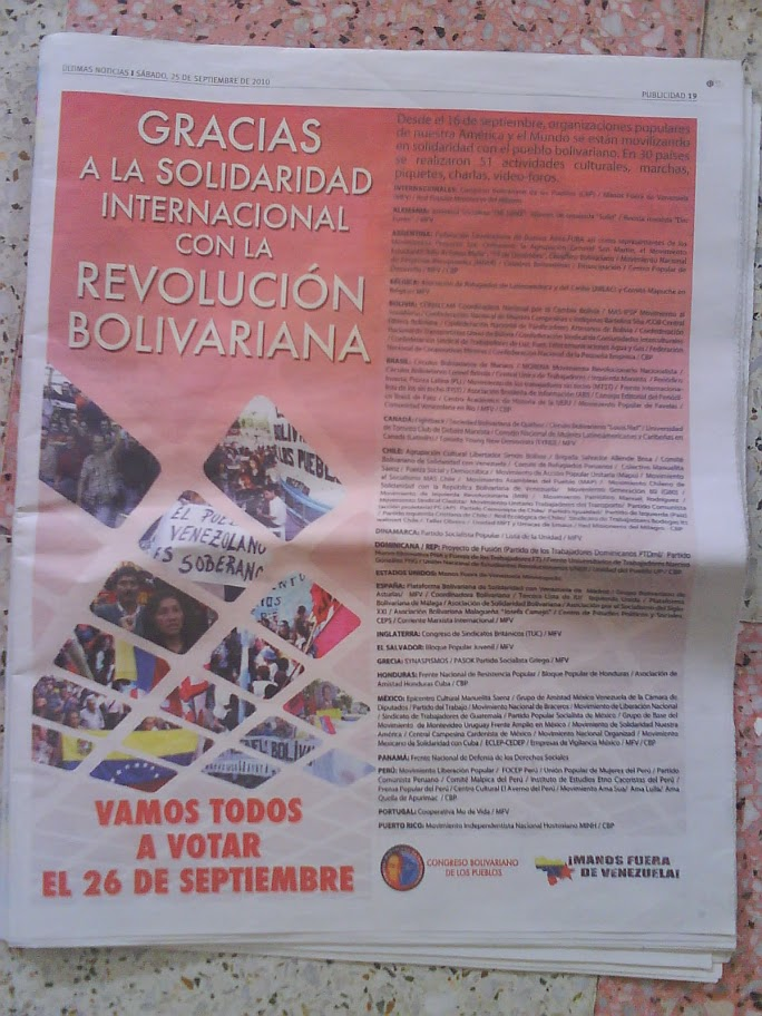 full page article on Ultimas Noticias
