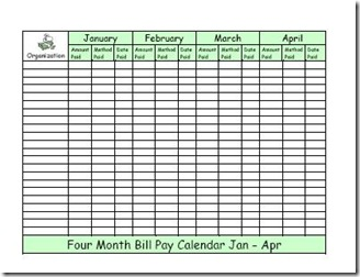 Household Planner Bill Pay Medium