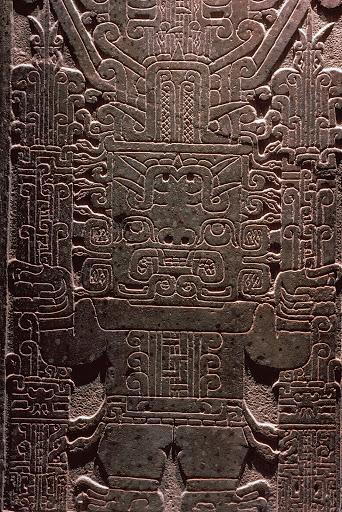 "Raimondi Stone, Chavin de Huantar. Peru, 1000-600 BCE. Height 6'6"", Diorite"