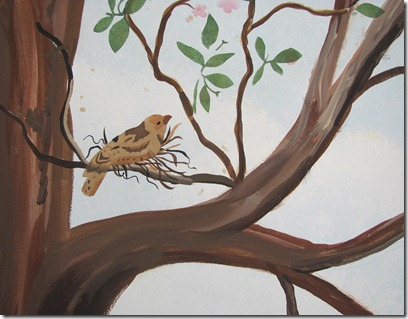 Sparrow in tree mural