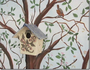 birdhouse in a tree mural