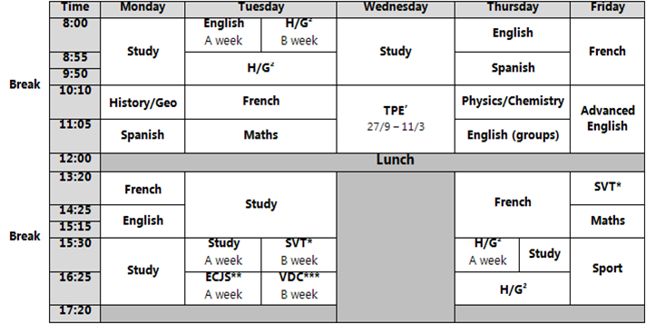 The Lyce Times School Hours In French Lyce