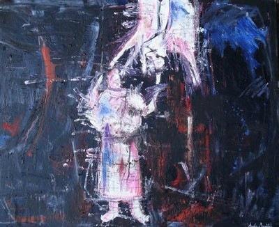 Photo d'une peinture d'Aurélie Mantillet, Trois chèvres, de la série Les abattoirs