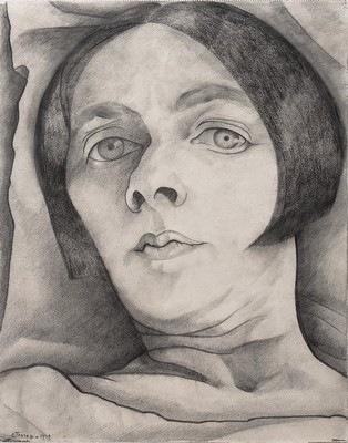 Dessin au crayon de Charley Toorop, Autoportrait, 1929