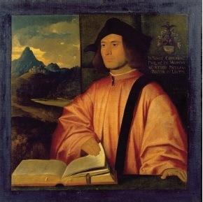 Giovanni Cariani, Portrait de Giovanni Benedetto Caravaggi, Huile sur toile, vers 1517-1520