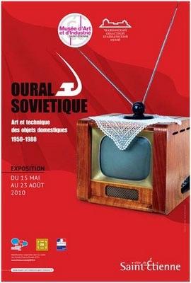 Affiche de l'exposition Oural soviétique, 1950-1980. Art et Techniques des objets domestiques, au Musée d'Art et d'Industrie de Saint-Etienne