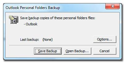 Crear copias de seguridad de las carpetas personales de Outlook 2010