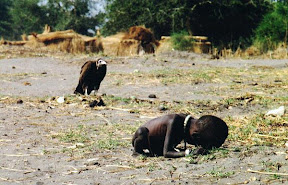 starving child and vulture
