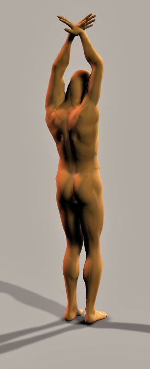 posed naked man standing