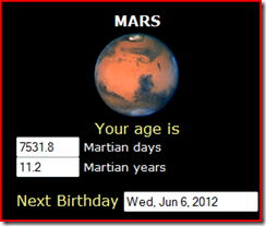 My age in Mars