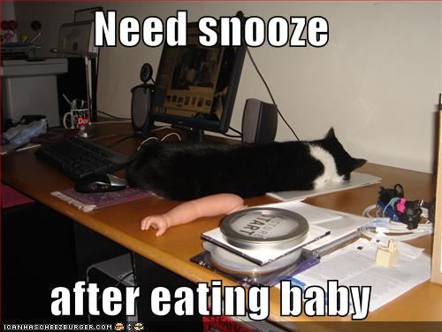 Need snooze after eating baby