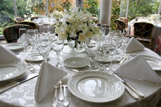 white wedding table settings. Wedding table setting