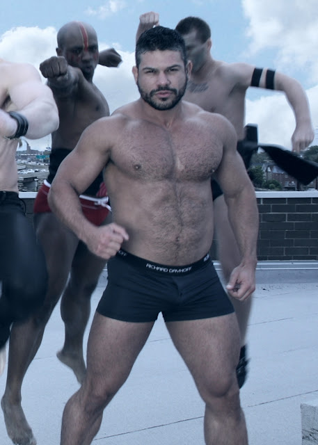 hairy chested model showing richard dayhoff underwear