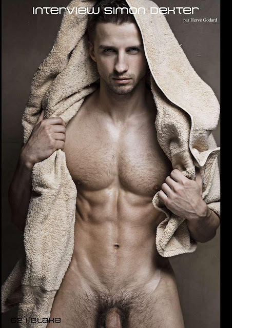 simon dexter by rick day towel over his head showing his hairy chest