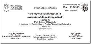 Invitación Pres Prof Sonnia Chiabrando (Alexis)