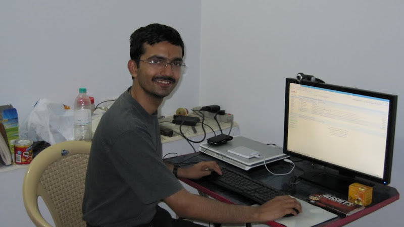 Umang Saini at his desk in #7, Computer Inspiron 6000