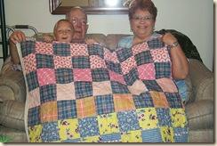 Granny's quilt w Hunter dad deb