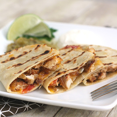 Grilled Quesadillas with Grilled Chicken, Tomatoes and Onions