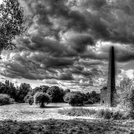 A storm brewing by Catherine Cross - Digital Art Places ( clouds, sky, buildings, trees, weather, landscape, storm )