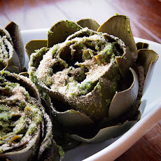 Steamed Artichoke With Pesto Crumb
