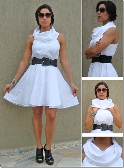 moda de novela vestido branco com gola arquitetônica estilo duda - look com cinto