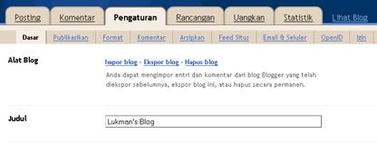 sub menu dasar pada menu pengaturan