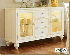 Antiqued White 3 Drawer Buffet Sideboard Server