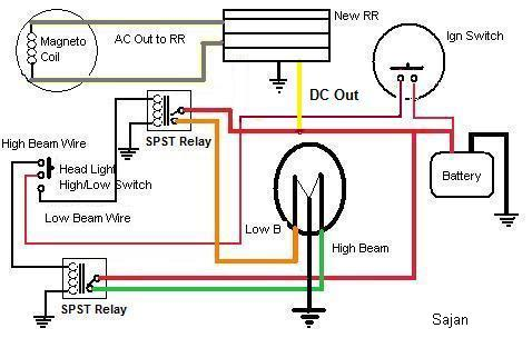 convert ac dc bike to all dc page 59 Ford Electrical Wiring Diagrams complete wiring for headlight including relay (put up by sajan)