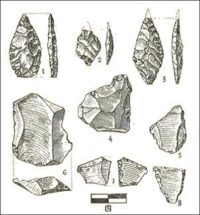 silex encontrados en la cueva