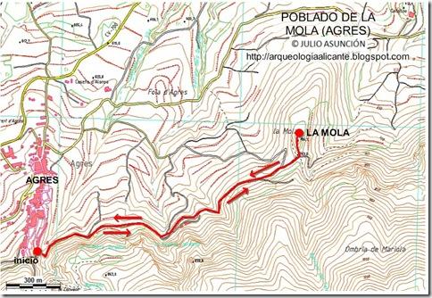 Mapa poblado prehistórico de La Mola