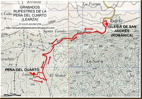 Mapa grabados rupestres de Learza