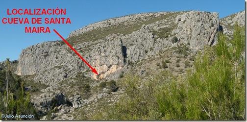Localización de la cueva de Santa Maira desde la entrada del barranco - ruta arte rupestre en el Barranc de Famorca