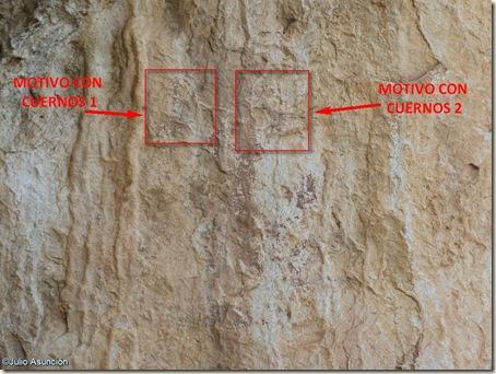 Detalle motivos con cuernos abrigo del barranco de Famorca