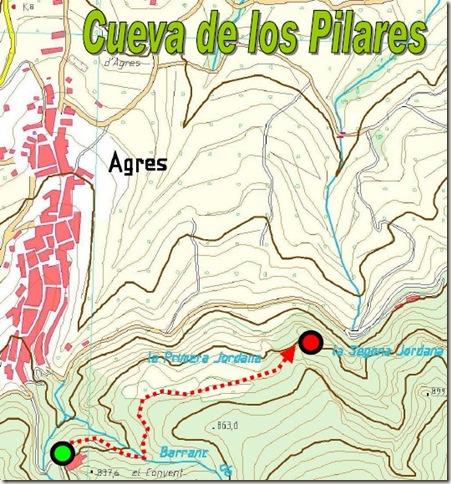 Mapa Cueva de los Pilares - Agres