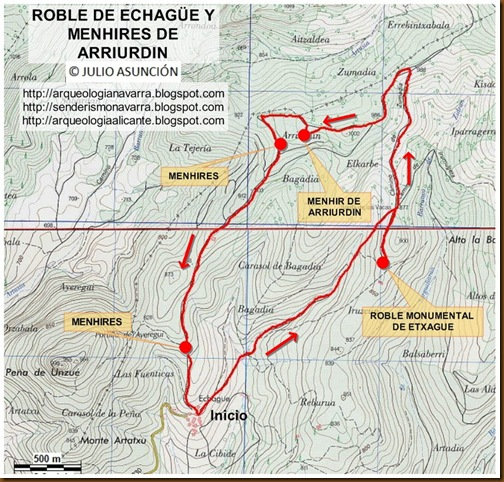 Mapa roble de Echague y menhires de Arriurdin