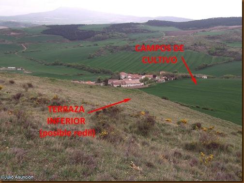 Vista del redil y de los campos de cultivo cercanos - Castro de Matxamendi