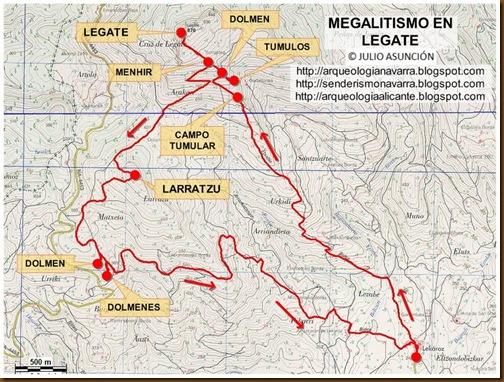 Mapa megalitos de Legate - Valle de Baztán