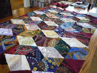 Work in Progress Wednesday: Assembling a crazy quilt in sections ... : how to make crazy quilt - Adamdwight.com