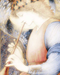burne jones angel with flagelot